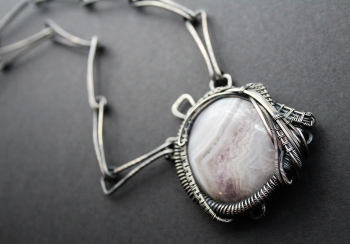 Algiz, Lace Agate and Sterling Silver, 2018